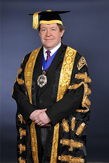 Alderman Roger Gifford, banker and former Lord Mayor of London in formal robes