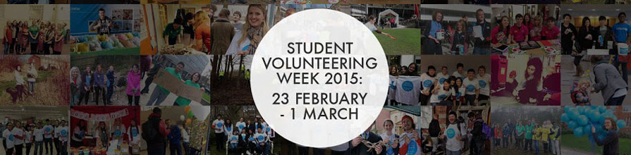 Student Volunteering Week photo collage and logo banner