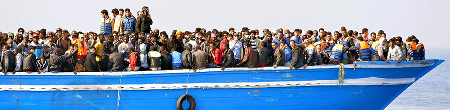 North African migrants crowded on a boat