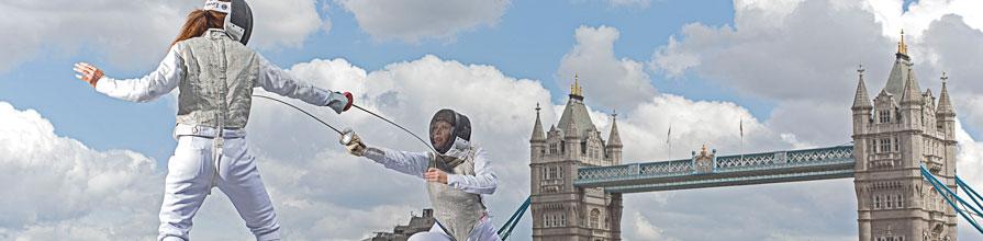 Two women fencing in London