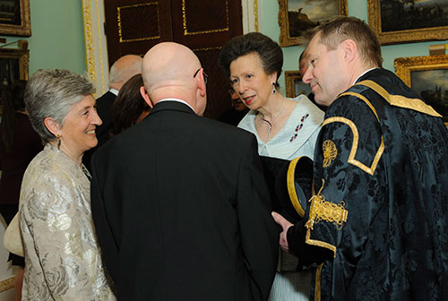 Pro-Chancellor Mr Rob Woodward introducing HRH The Princess Royal to council members Dame Lynne Brindley and Dr John Low