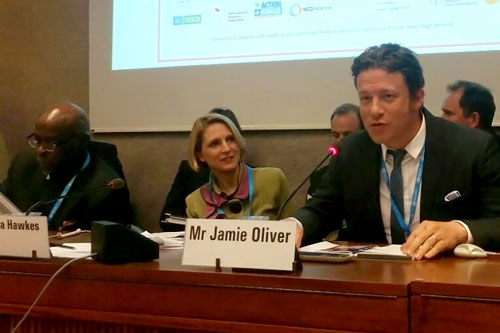 Jamie Oliver and Corinna Hawkes speaking at the World Health Assembly
