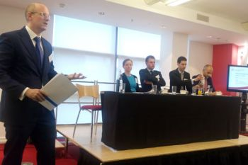 Professor David Collins speaking at a City Law School event