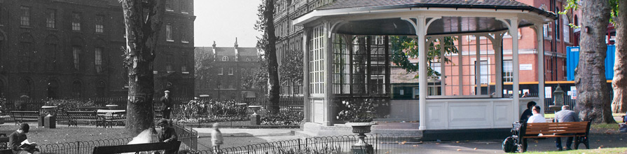 Northampton Square bandstand old and new photo merged