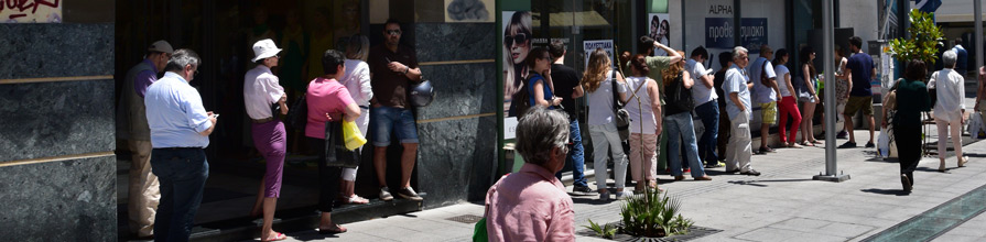 Queue for a bank in Athens. Greek recession deaths