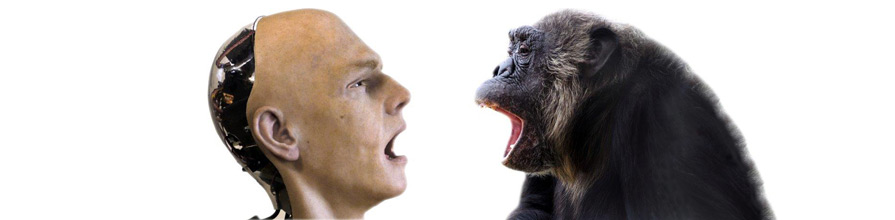Android and chimp facing each other.