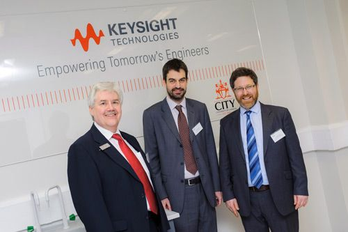 Graham Newton, Veselin Rakocevic and Iasonas Triantis at the City Keysights electrical engineering lab relaunch.