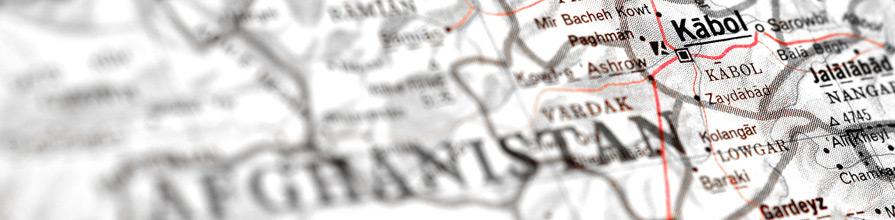Kabol on Afghanistan map. UK Afganistan and Central Asia Association