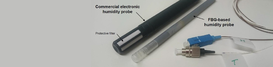 Fibre Optic pieces: Commercial electronic humidity probe with protective filter, protective perforated cap, FBG-based humidity probe