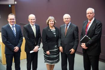Dick Olver, Dame Ann Dowling and President Sir Paul Curran with others at the 'Sir Richard Olver Engineering Lecture with Professor Dame Ann Dowling