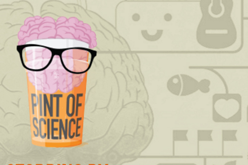 Pint of science: Pint glass with brain wearing glasses inside