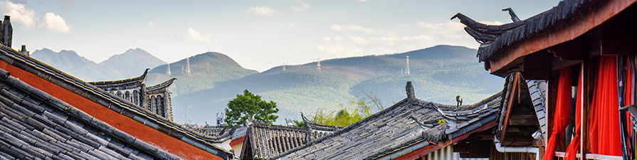 Oriental rooftops and landscape