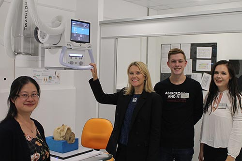 City students provide guided tour of our Clinical Skills Centre including the advanced radiography system made possible by a generous donation from the Wolfson Foundation