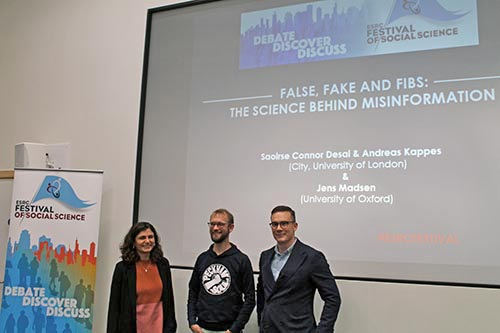 Saiorse Connor Desai, Jens Koed Madsen and Andreas Kappes at start of Fake Fibs event