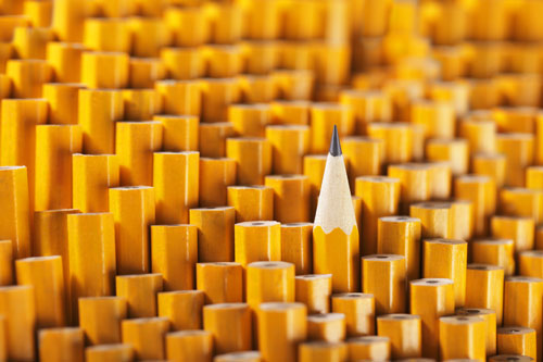 One sharp pencil stands tall among a large group of many blunt pencils.