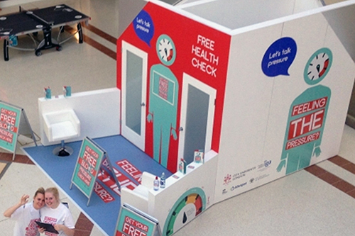 Overhead view of Pop-Up health check station