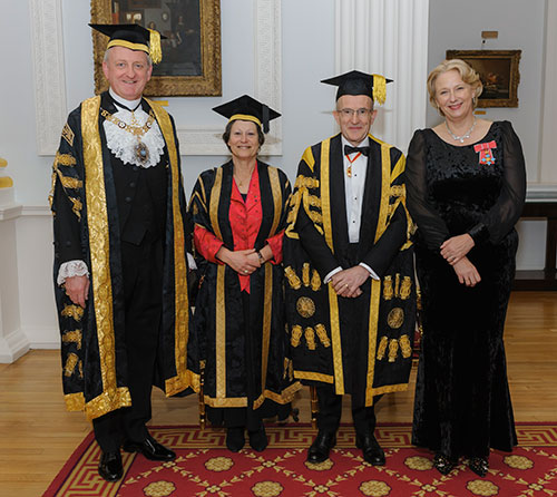 Alderman Peter Estlin, Rector with Ms Julia Palca, Professor Sir Paul Curran and Jayne-Anne Gadhia at Rector's Dinner 2019