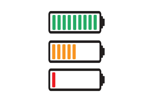 green, amber and red phone battery icons