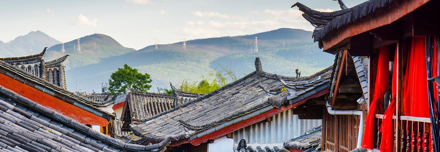 Landscape of Lijiang traditional Chinese tile rooftops