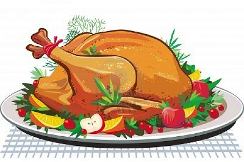 Cartoon of painted Christmas turkey with fruit on a plate