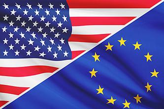 US and EU flag combined diagonally