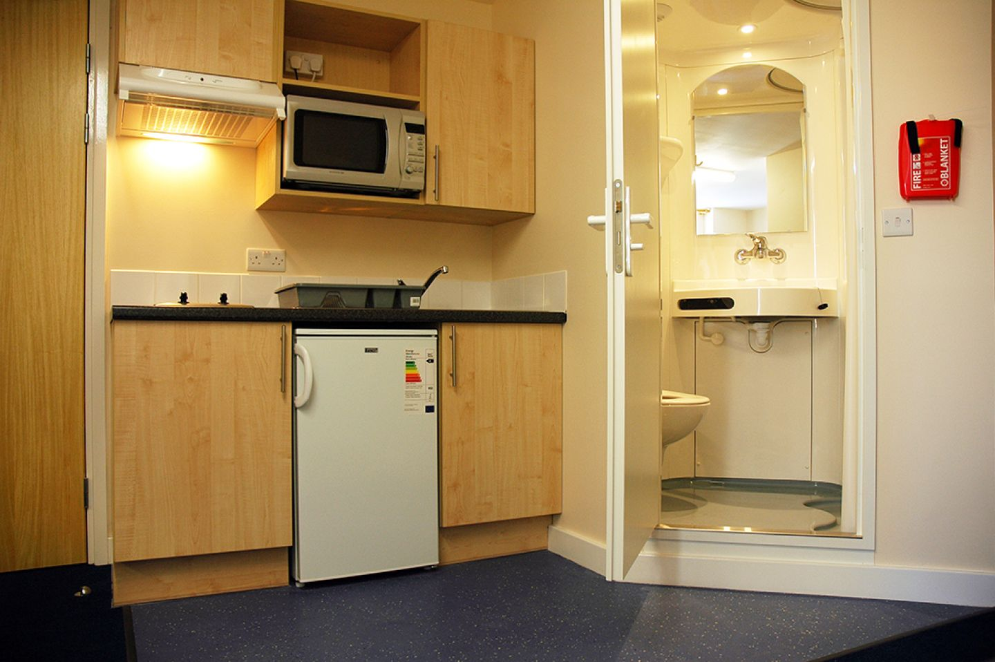 View of a studio room showing kitchen and en-suite. The kitchen is on one wall with hob and extractor fan on the left, fridge central with microwave overhead and sink on the right, plus three cupboards. The small bathroom is built in, with a door with a latch and a small step up to enter.
