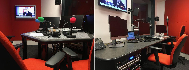 Interior of the journalism radio studio and control room