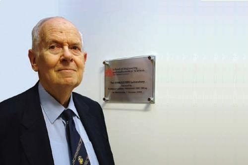 Professor Ludwik Finkelstein at the opening of the City University London electrical engineering laboratory named in his honour