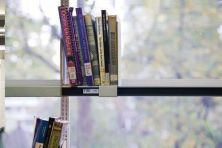 Library books on a shelf