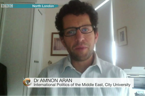 A screenshot of Dr Amnon Aran appearing on BBC News speaking on the proposed Syria ceasefire