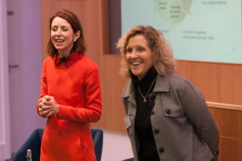 Helena Morrissey and Professor Marianne Lewis on stage for the Cass Dean's Lecture