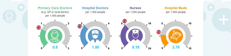 Screenshot of health economics game: Primary Care Doctors, Hospital Doctors, Nurses, Hospital Beds