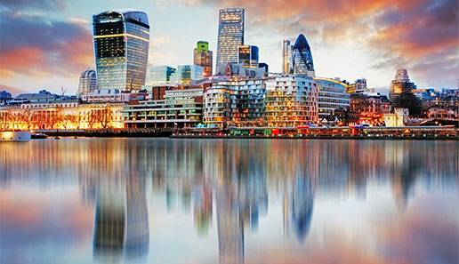 Dramatic photograph of the City of London skyline
