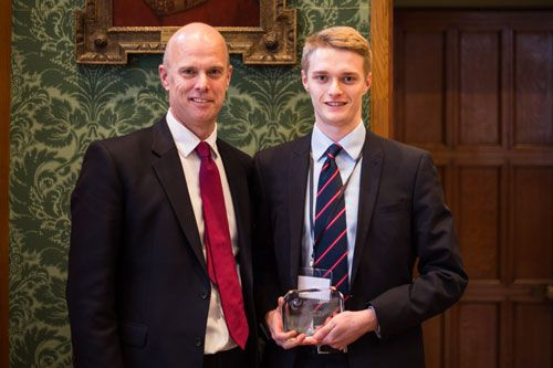 Tom Phillips with his Future Legal Mind award