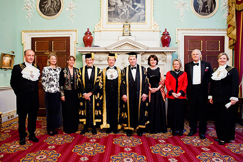 (L-R) Alderman and Sheriff Charles Bowman, Mrs Samantha Bowman, Miss Hayley Curran, Vice-Chancellor Professor Sir Paul Curran, Chancellor The Rt. Hon. The Lord Mayor Alderman The Lord Mountevans, Pro-Chancellor Mr Rob Woodward, Ms Tricia Bey, The Lady Mayoress, Mr Stephen Rigden, Sheriff Dr Christine Rigden.