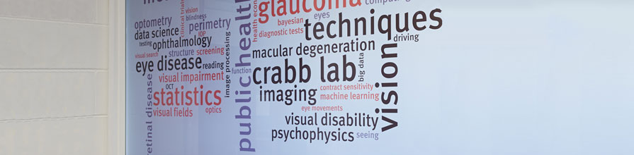 Word cloud on the Crabb Lab glass wall at City in the Tait building