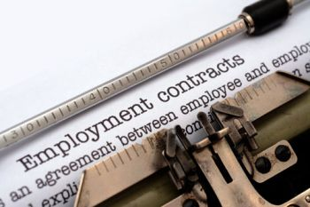 An employment contract in a typewriter