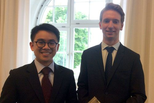 Winners D Boon and T Neumann in hamburg for the City Law school moot