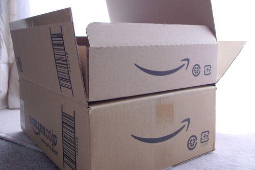 Amazon box with smile logo