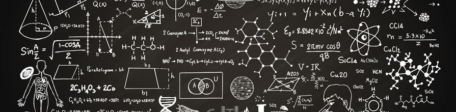 Equations and drawings on a blackboard. Pint of Science
