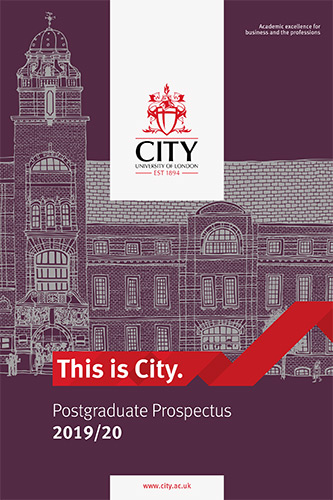 Cover of the postgraduate prospectus for 2019/20 academic year