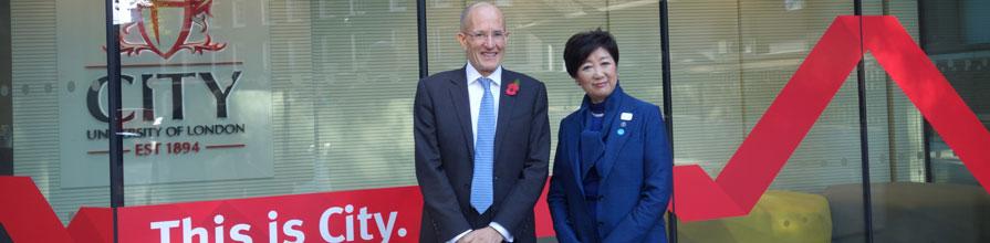 President Sir Professor Paul Curran and Yuriko Koike, Governor of Tokyo