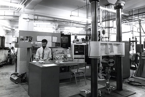 Man sat in the City Engineering lab in the 1960s.