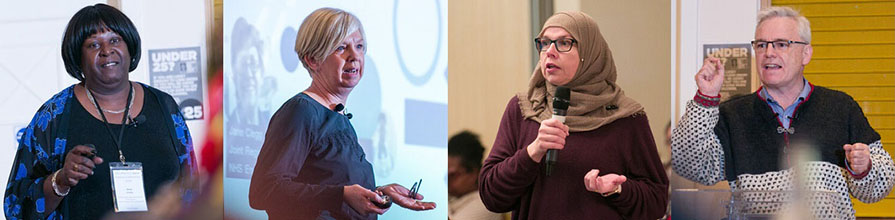 Montage headshots of Mary Clarke, Jane Clegg, audience member, and Sam Everington at NEL Practice Nurses Conference