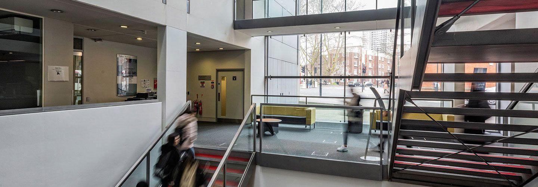 Stairway inside School of Social Science building