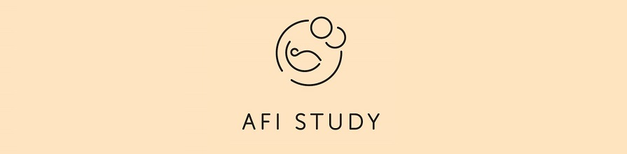 The attachment in fetal imaging (AFI) study logo - which is a black outline drawing of two parents and a child on a beige background.