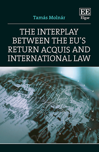 Book cover of Molnar's 'The Interplay between the EU's Return Acquis and International Law'. Cover image map of Europe with arrow lines linking different countries.