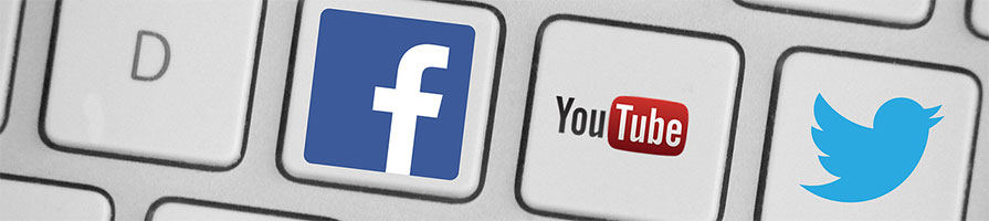 Social media keys on a keyboard