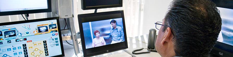 Clinician using telehealth technology