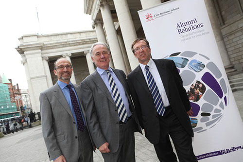 Alumni reception in Dublin, with guest speaker Archie Kane (centre), Governor of the Bank of Ireland.